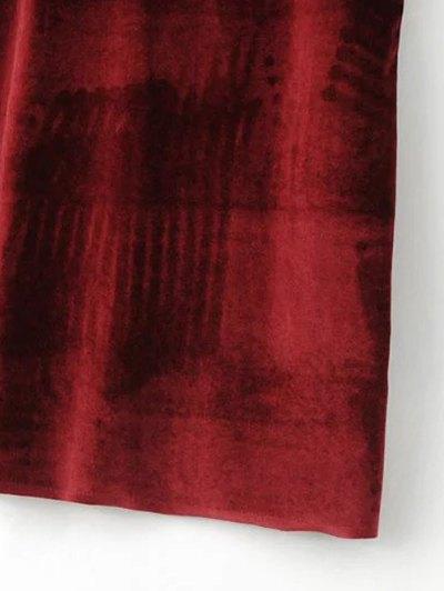 Strapy Velvet Mini Dress - BURGUNDY L Mobile