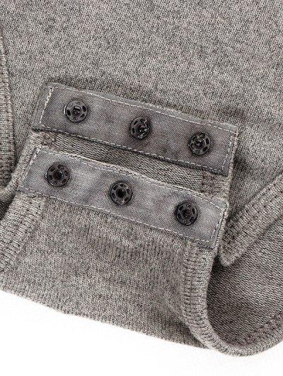 Gloved Sleeve Turtle Neck Bodysuit - GRAY L Mobile