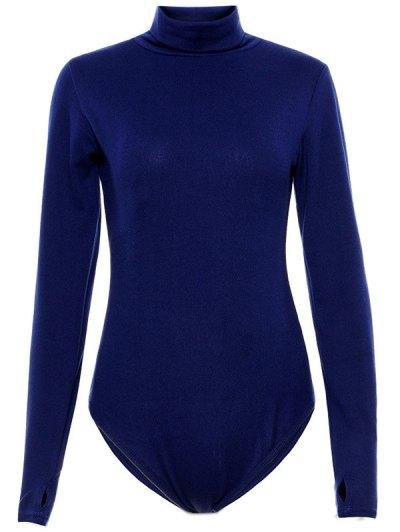 Gloved Sleeve Turtle Neck Bodysuit - PURPLISH BLUE M Mobile