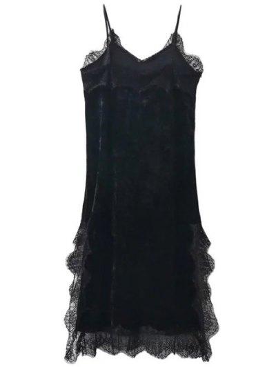 Lace Trim Velvet Cami Dress - BLACK L Mobile