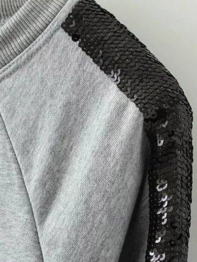 Sequins Raglan Sleeve Sweatshirt - BLACK S Mobile