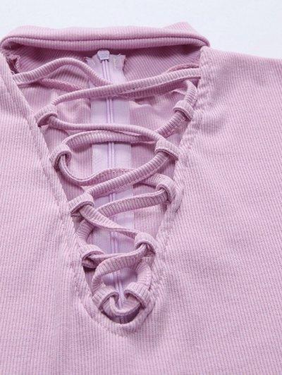 Long Sleeve Lace Up Choker Bodysuit - BLACK XL Mobile
