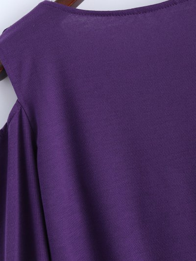 Cold Shoulder V Neck Ruffles T-Shirt - PURPLE M Mobile