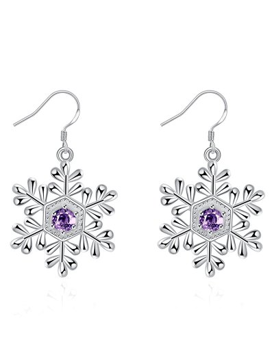 Faux Amethyst Snowflake Christmas Earrings - Silver