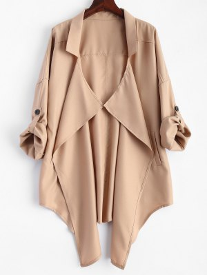 Plus Size Rolled Sleeve Draped Trench Coat - Khaki