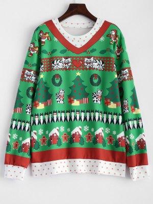 Sweat-shirt Pull Motif Noël  - Vert