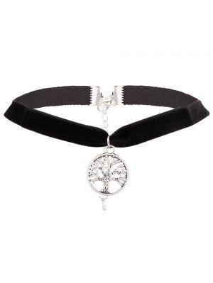 Adorn Life Tree Velvet Choker Necklace - Silver