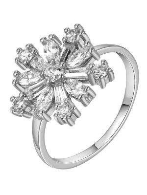 Adorn Rhinestoned Flower Ring - Silver