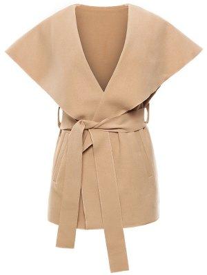 Wool Blend Shawl Collar Belted Waistcoat - Khaki
