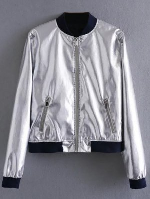Metallic Colored Bomber Jacket - Silver
