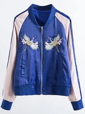 Two Tone Embroidered Satin Bomber Jacket - Sapphire Blue