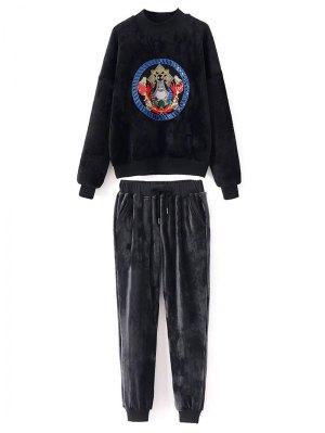 Embroidered Velvet Sweatshirt And Pants - Black
