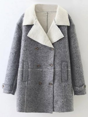 Double Breasted Fleece Lined Coat - Gray