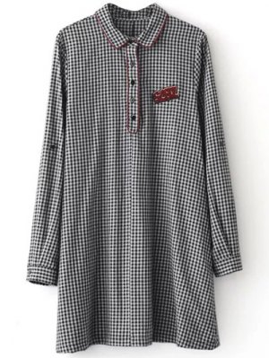 Checked Long Sleeve Mini Dress - White And Black