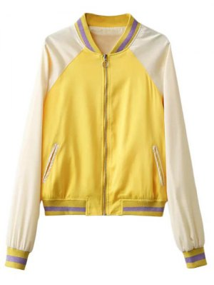 Color Block Zip Up Baseball Jacket - Yellow