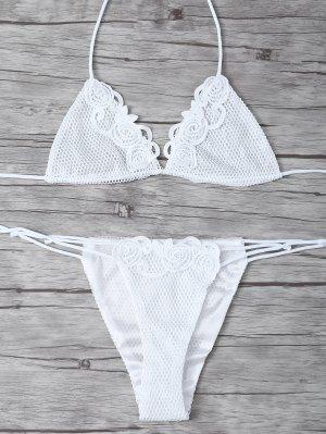 Lace Halter Crochet Bikini Set - White