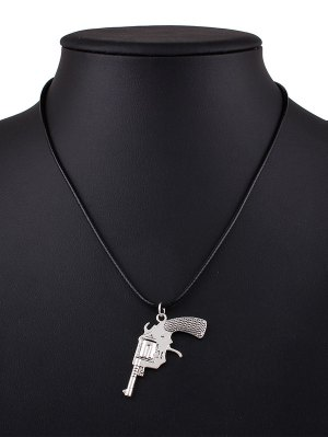 Pistol PU Leather Pendant Necklace - Black
