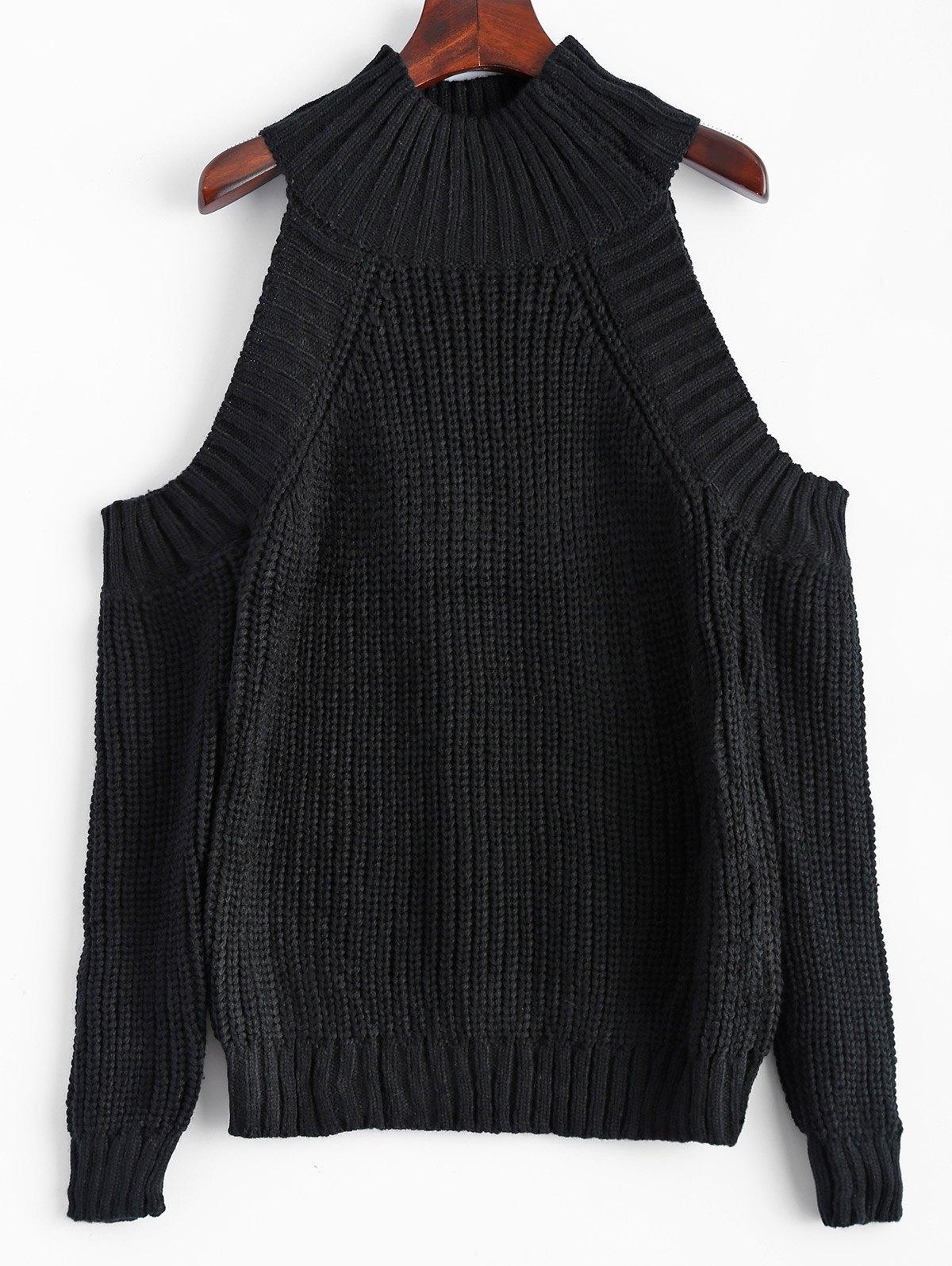 Funnel Neck Cold Shoulder Sweater