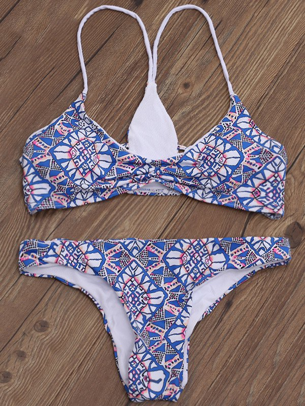 Shirred Printed Strappy Bikini