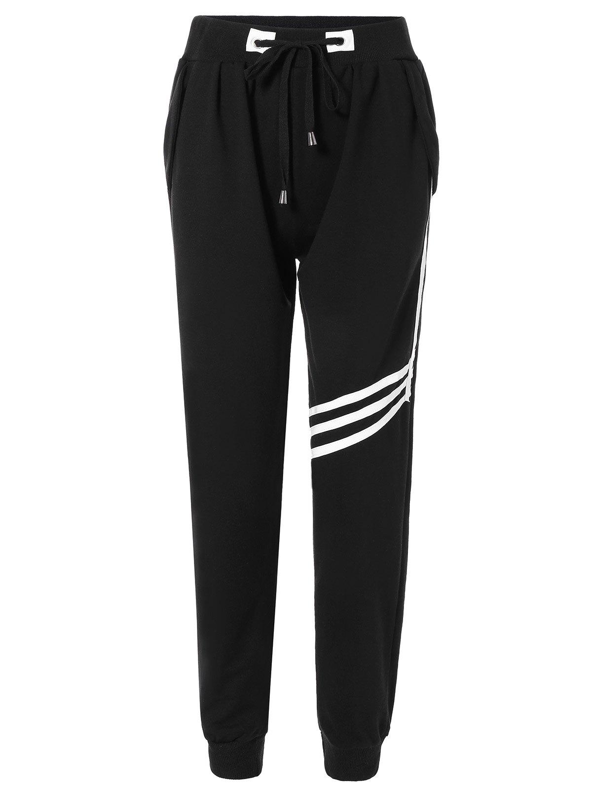 Drawstring Striped Sweatpants