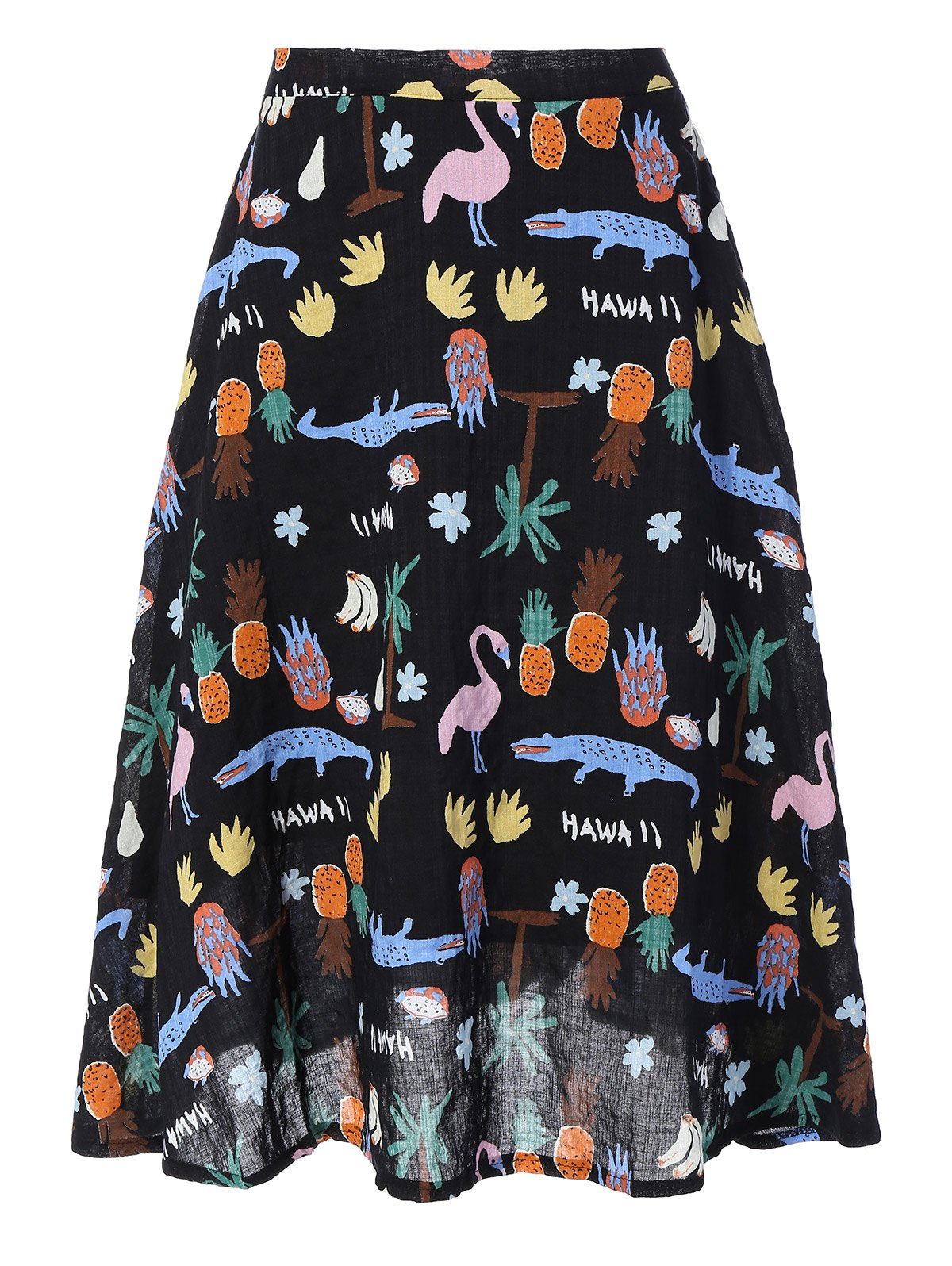 Fruit Print Midi Skirt