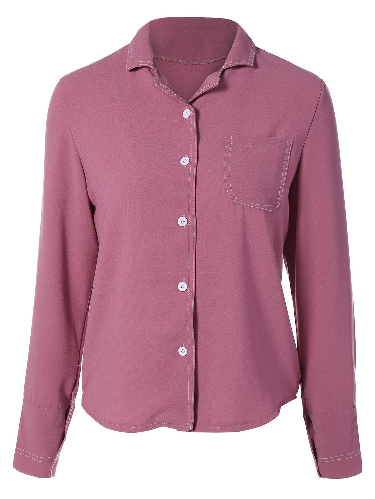 Single-Breasted Lapel Collar ShirtClothes<br><br><br>Size: M<br>Color: WINE RED