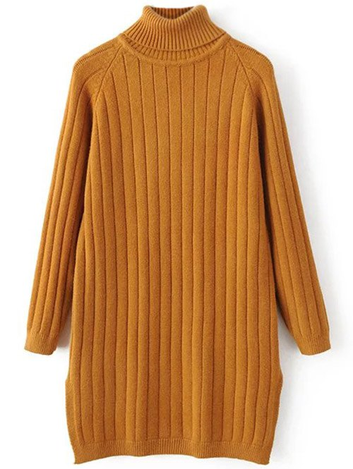Turtleneck Ribbed Knit Long Sweater 201241601