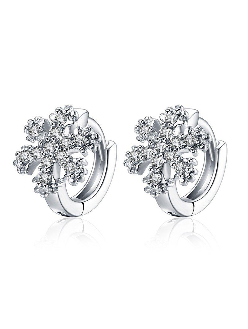 Rhinestoned Snowflake Christmas Hoop Earrings