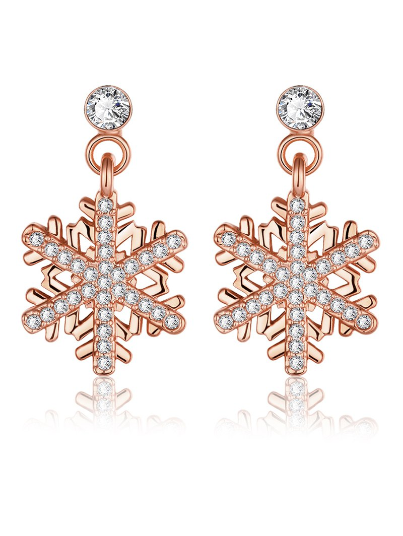 Rhinestoned Snowflake Christmas Earrings