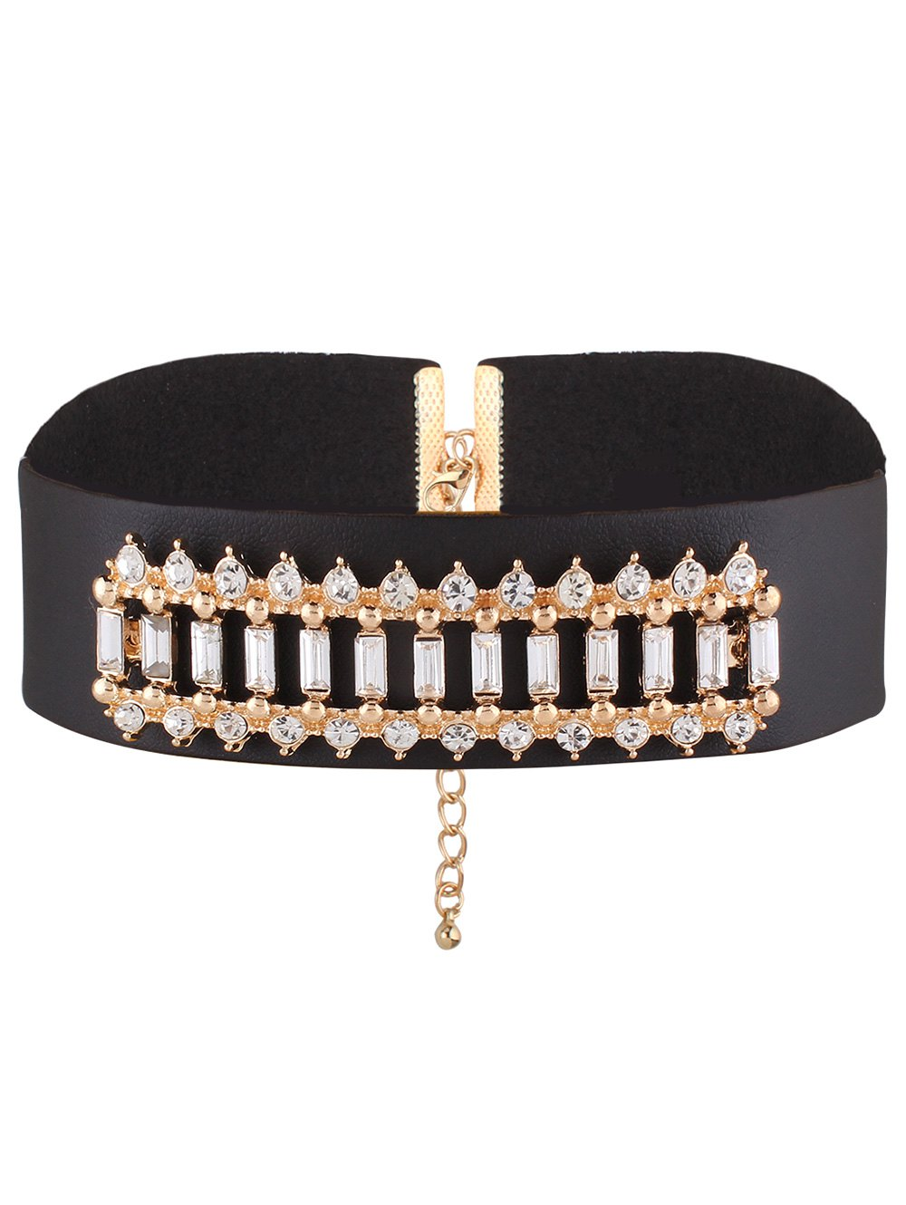 PU Leather Rhinestone Choker Necklace