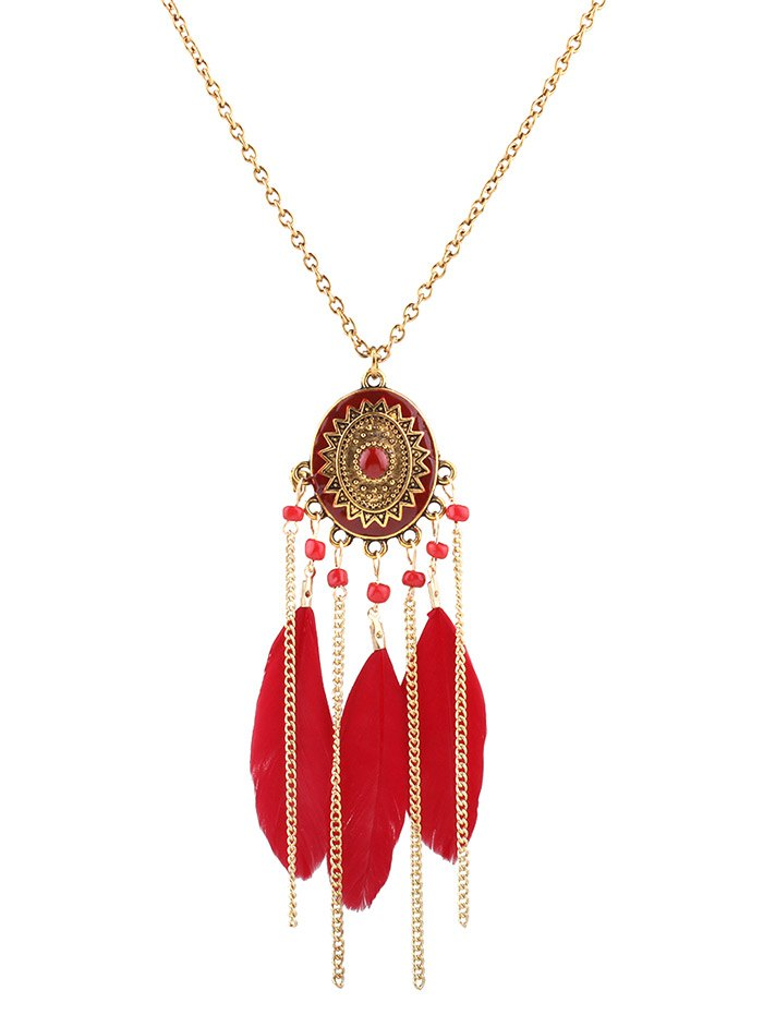 Medallion Feather Tassel Necklace