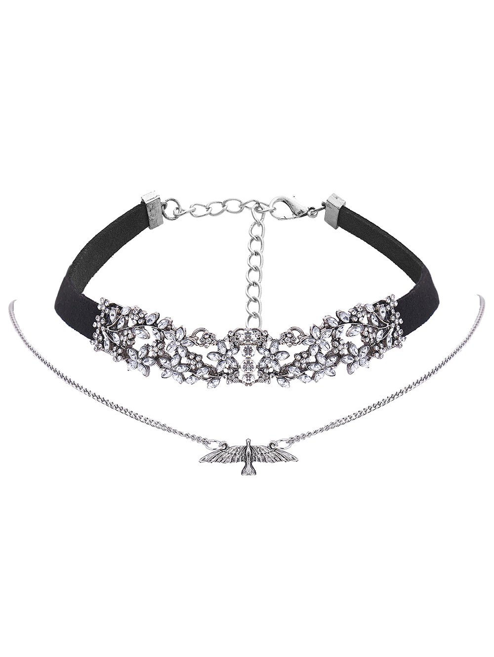Rhinestone Flower Eagle Choker Necklace