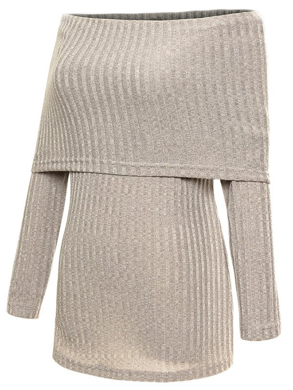 Foldover Off The Shoulder Ribbed Jumper 201276812