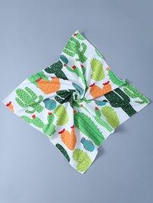 Cactus Handkerchief Scarf - White
