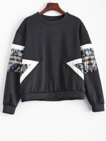 Patched Sequin Sweatshirt - Black S