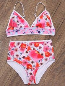 Floral Print Low Cut Bikini Set - Floral