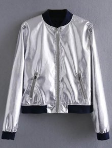 Metallic Colored Bomber Jacket - Silver S