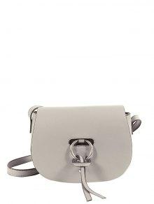 PU Leather Metal Ring Saddle Bag - Gray