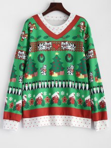 Christmas Pattern Pullover Sweatshirt