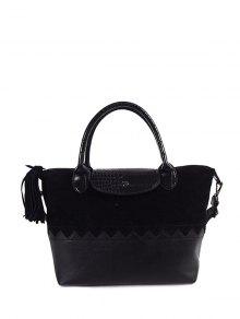 Suede Panel Color Block Tassel Handbag - Black
