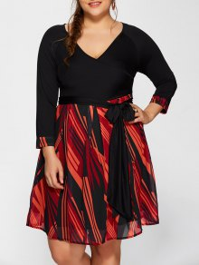 Printed A-Line Plus Size Dress