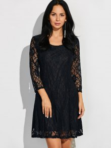 Short Lace Dress With Sleeves - Black