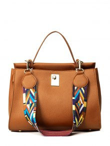 Colored Strap PU Leather Handbag - Brown