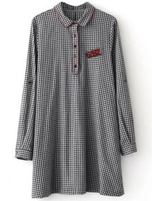 Checked Long Sleeve Mini Dress