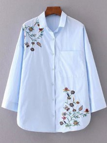 Floral Embroidered Shirt Neck Shirt