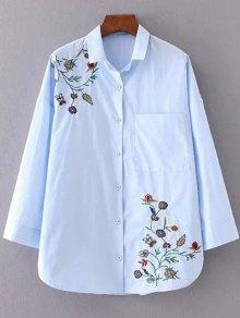 Floral Embroidered Shirt Neck Shirt - Azure S