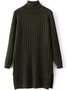 Turtleneck Ribbed Knit Long Sweater - Blackish Green