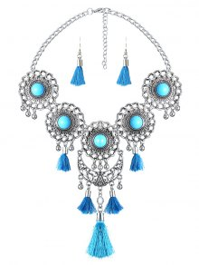 Medallion Fringed Necklace Set