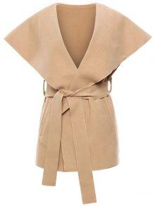 Wool Blend Shawl Collar Belted Waistcoat