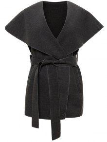 Wool Blend Shawl Collar Belted Waistcoat - Deep Gray M